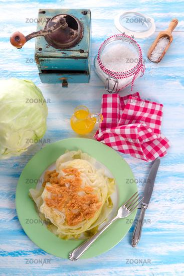 Young stewed cabbage on Irish art