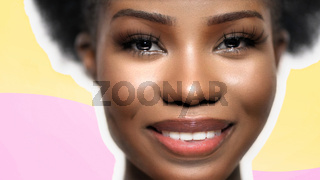 Pretty Afro Woman laughs happily, Face Close Up