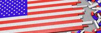 Klemmbausteine als Stars and Stripes zusammengesetzt