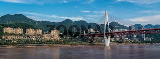 Panorama of Chongqing town on the Yangtze river