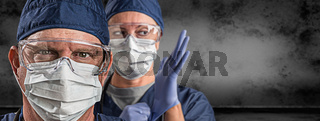 Female and Male Doctors or Nurses Wearing Scrubs and Protective Mask and Goggles Banner
