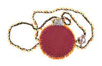 necklace with blank round brown leather locket