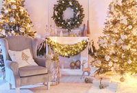Christmas interior concept. With fireplace, armchair, pine tree, wrapped gifts, lights