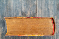 Thick old book. Vintage covers and pages. Vintage yellow pages.