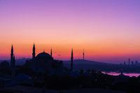 Hagia Sophia Museum, sunrise silhouette, Istanbul, Turkey