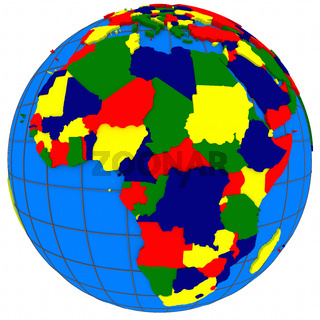 Africa countries on globe