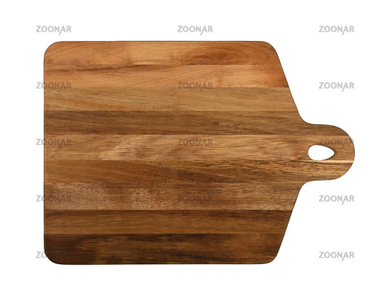 Oak wood cutting board isolated on white