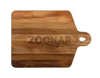 Oak wood cutting board isolated on white