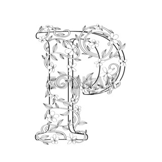 Letter P floral sketch