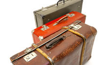 Vintage suitcase over white background. Isolated