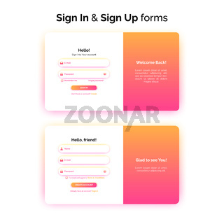 Sign In and Sign up forms, web design, registration and login interface with gradient, vector illustration.