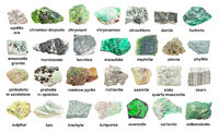 set of various green unpolished stones with names