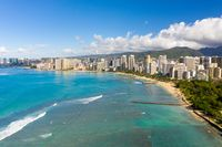 Aerial view of Waikiki looking towards Honolulu on Oahu