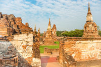 View of ruins of old historical and religious capital Ayutthaya in Thailand