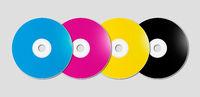 CMYK CD - DVD set on grey background