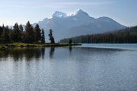 Maligne Lake close to Jasper with early morning mood, Alberta, Canada
