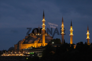ISTANBUL, TURKEY - MAY 28 : Exterior view of the Suleymaniye Mosque in Istanbul Turkey on May 28, 2018