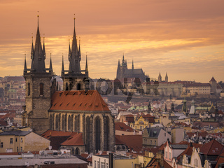 Aerial view of Stare Mesto at sunset, Prague.