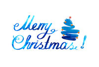 Merry Christmas watercolor background with blue fir tree.
