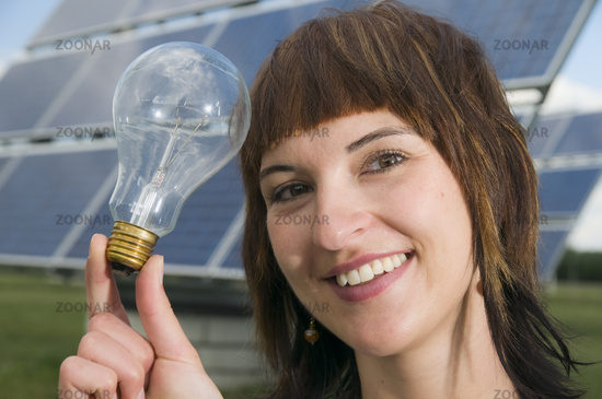 young lady with light bulb