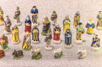 Small figurines of santons from French Provence used like beans of the cake of