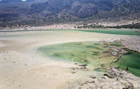Aerial view on  Balos lagoon with sandy beach. Crete, Greece.