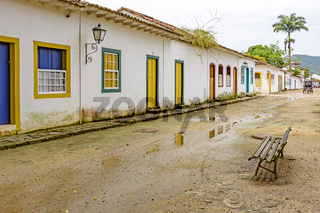 Sand streets and old houses in colonial style on the old and historic city of Paraty
