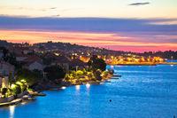 Golden sunset on Ugljan island coast, Kali and Preko villages