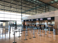 Berlin, Germany - November, 2020: Empty gate at BER Airport in Berlin during Covid-19 Pandemic