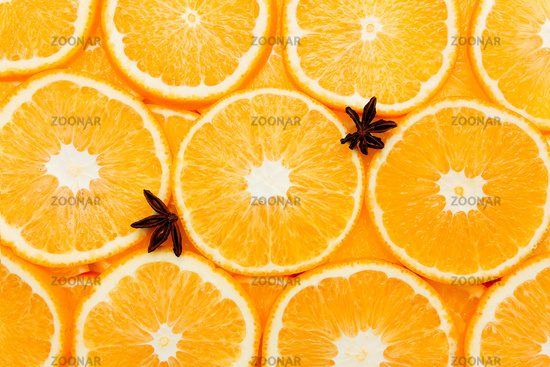 Background with orange slices, oranges texture, citrus and anise