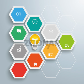 Hexagon Honeycomb Infographic Bulb PiAd