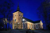 Illuminated Uskela Church, Salo Finland