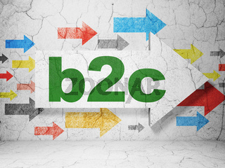 Finance concept: arrow with B2c on grunge wall background