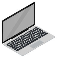 Isometric 3d vector illustration of open laptop isolated on white.
