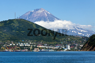 View of Petropavlovsk-Kamchatsky City, Avacha Bay and Koryak Volcano
