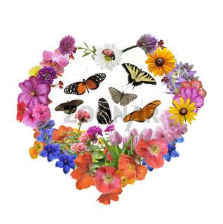 Butterflies And  Flowers In Heart Shape