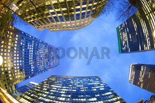 Low angle of office buildings at dusk