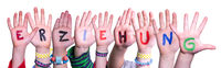 Children Hands Building Word Erziehung Means Education, Isolated Background
