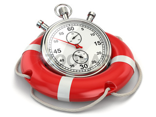 Fast first help. Stopwatch in lifebuoy. 3d
