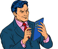 Stylish businessman looks at a modern gadget tablet, works with a touchscreen