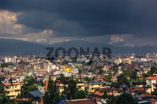 Dark clouds over Patan and Kathmandu, Nepal