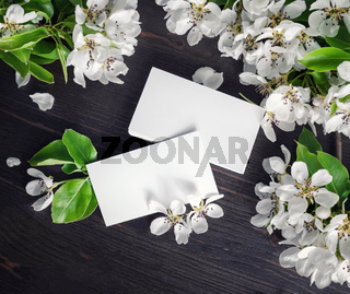 Blank business cards and flowers
