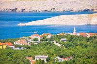Jadranovo. Adriatic sea village on Crikvenica riviera and stone desert of Krk island view