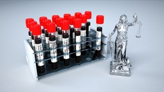 Lady Justice Statue Corona Blood Test Tubes