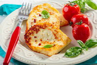 Grilled traditional halloumi cheese.