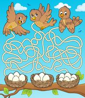 Maze 34 with birds and nests