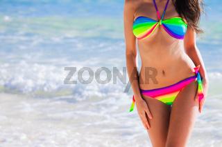 Woman in bikini over sea