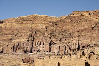 View on tomb wall, palace corinthian and royal, in Petra, Jordan