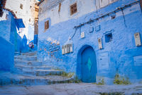 Blue staircase in Chefchaouen Street, Medina, Morocco