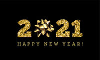 Congratulations on the 2019 happy new year. Holiday Gifts. Vector. Gold on black